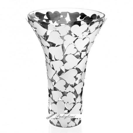 Ottaviani Crystal Vase with Hearts H 33 Cm