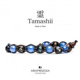 Tamashii mантра браслет голубой агат BHS200/18