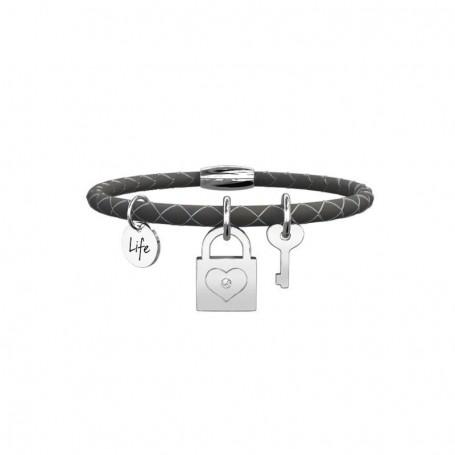 Kidult bracciale in pelle nera Lucchetto Amicizia - 231527