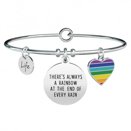 Kidult bracciale rigido in acciaio THERE'S ALWAYS A RAINBOW AT THE END OF EVERY RAIN |731313