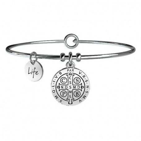 Kidult bracciale rigido in acciaio Croce di San Benedetto|Forza collezione LIFE Spirituality | 231545