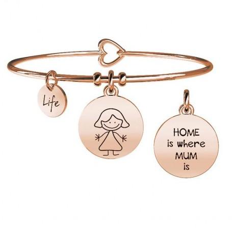 Kidult bracciale rigido in acciaio pvd rosè MUM MAMMA collezione LIFE Family   731017