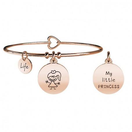 Kidult bracciale rigido in acciaio pvd rosè GIRL|BIMBA collezione LIFE Family | 731019