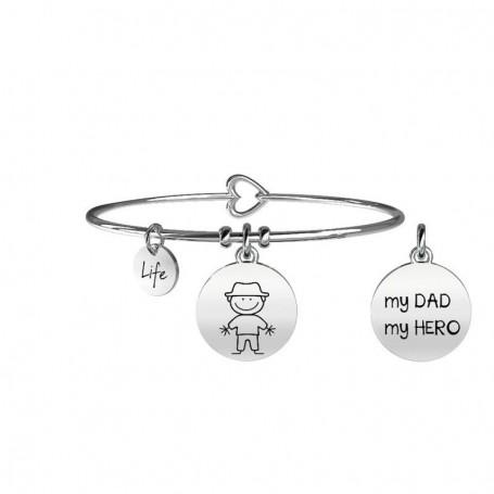 Kidult bracciale rigido in acciaio DAD|PAPA' collezione LIFE Family | 231566