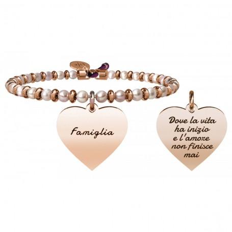 Kidult bracciale rigido in acciaio pvd rosè e perle coltivate viola Cuore|Famiglia collezione LIFE Family | 731422
