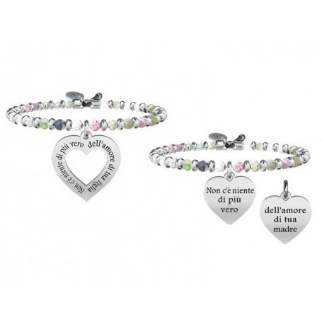 Kidult due bracciali in agata multicolor con inserti in acciaio Mamma&Figlia|Vero Amore collezione LIFE Family | 731443
