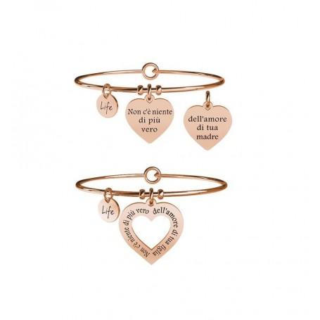 Kidult due bracciali in acciaio pvd rosè Mamma&Figlia|Vero Amore collezione LIFE Family |731099