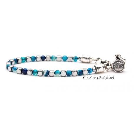 PortoNovo bracciale Cubetto da uomo in Zamak laminato argento ed ematite azzurra| BRA 042407