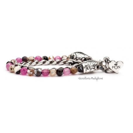 PortoNovo bracciale doppio giro da donna in zamak laminato argento e agata rosa | BRA 04240