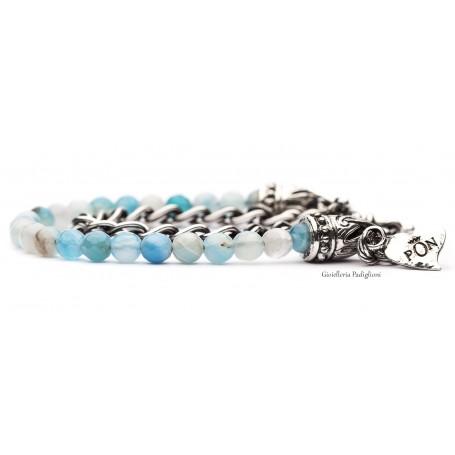 PortoNovo bracciale doppio giro da donna in Zamak laminato argento e agata azzurra | BRA 04229